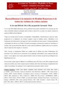 Appel au rassemblement d'hommage à Brahim Bouarram 1er mai 2016