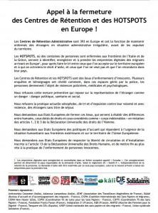 Appel à la fermeture des Centres de Rétention et des HOTSPOTS en Europe !