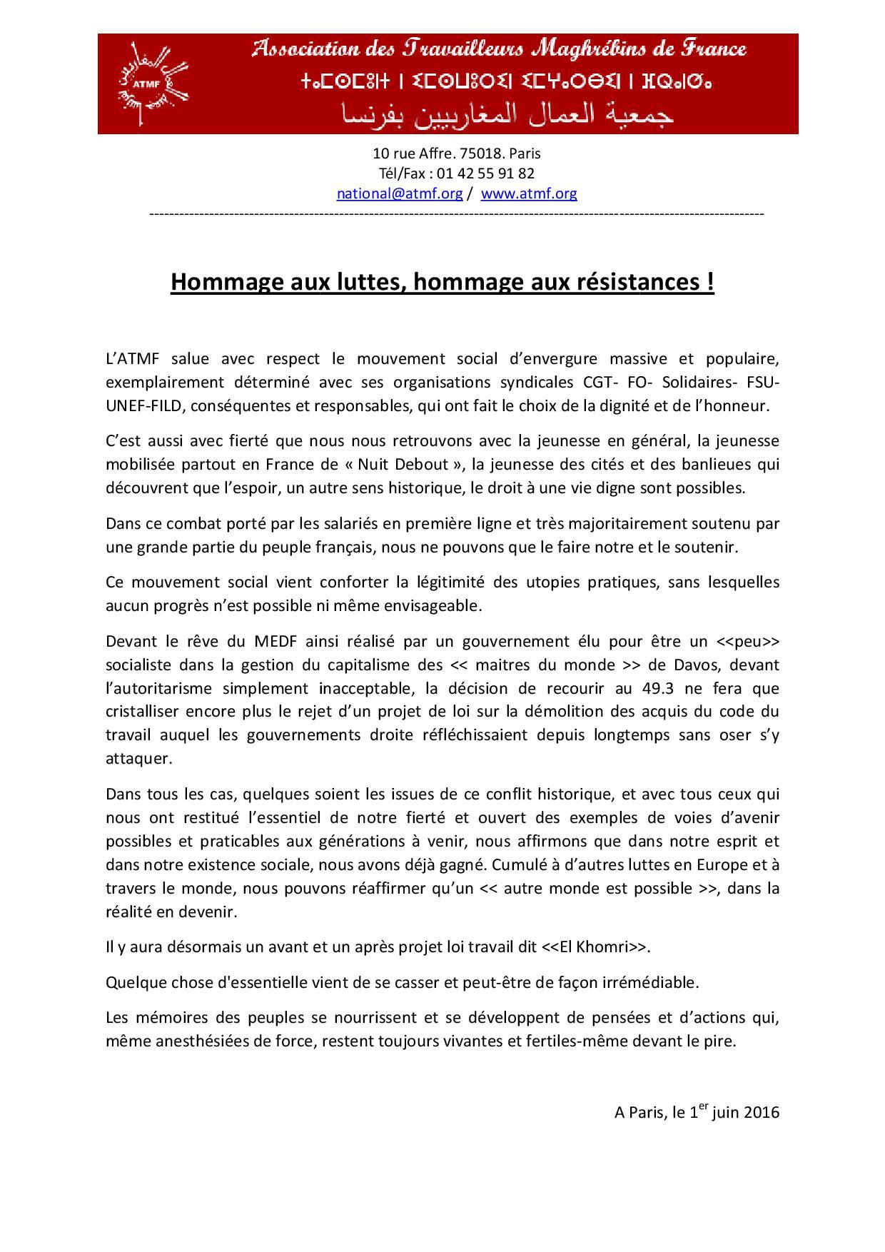 ATMF - Hommage aux luttes hommage aux résistances