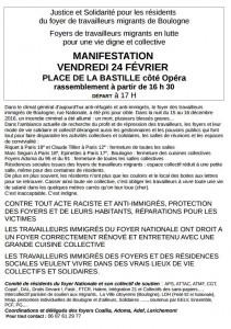 Justice et Solidarité pour les résidents  du foyer de travailleurs migrants de Boulogne