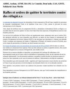 Rafles et ordres de quitter le territoire contre des réfugié.e.s