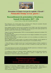 Jérusalem-Al Qods n'est pas la capitale  d'Israël ! Rassemblement de protestation à Strasbourg