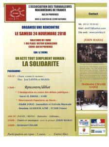 Journée rencontre solidarité le 24 novembre 2018 à Aix en Provence