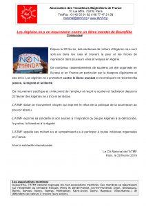 Les Algérien.ne.s en mouvement contre un 5ème mandat de Bouteflika – Communiqué de l'Atmf