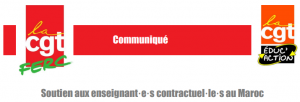 CGT Soutien enseignants contractuels au Maroc